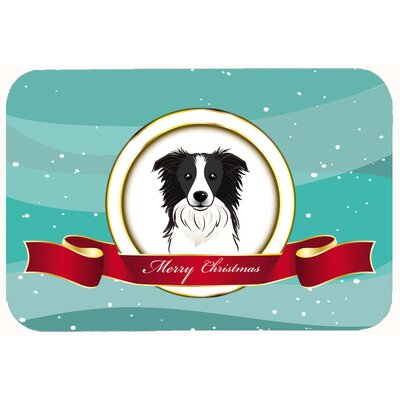 Border Collie Merry Christmas Kitchen/Bath Mat Size: 24 W x 36 L