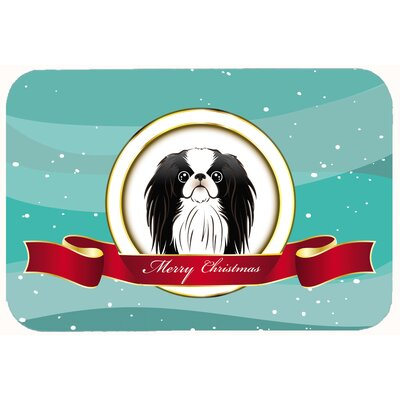 Japanese Chin Merry Christmas Kitchen/Bath Mat Size: 24 W x 36 L