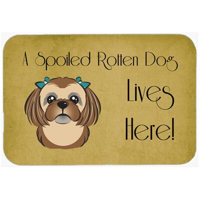 Shih Tzu Spoiled Dog Lives Here Kitchen/Bath Mat Size: 20 W x 30 L, Color: Chocolate/Brown