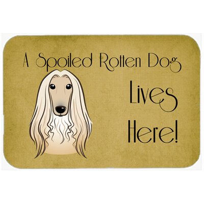 Afghan Hound Spoiled Dog Lives Here Kitchen/Bath Mat Size: 24 W x 36 L