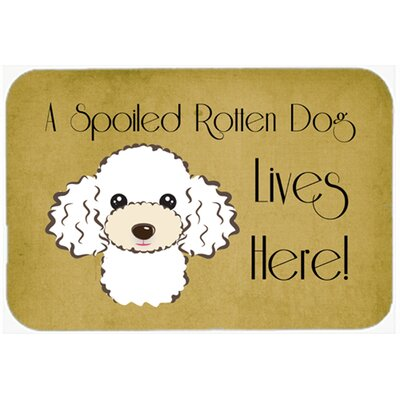 Poodle Spoiled Dog Lives Here Kitchen/Bath Mat Size: 24 W x 36 L, Color: White