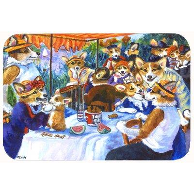 Corgi Boating Party Kitchen/Bath Mat Size: 24 W x 36 L
