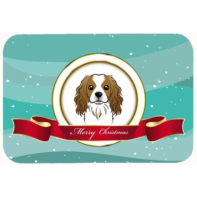 Cavalier Spaniel Merry Christmas Kitchen/Bath Mat Size: 24 W x 36 L