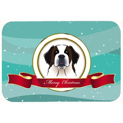 Saint Bernard Merry Christmas Kitchen/Bath Mat Size: 24 W x 36 L