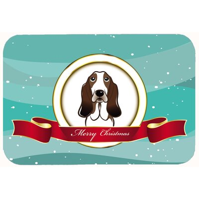 Basset Hound Merry Christmas Kitchen/Bath Mat Size: 20 W x 30 L