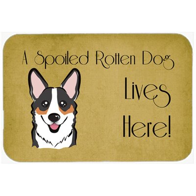 Corgi Spoiled Dog Lives Here Kitchen/Bath Mat Size: 24 W x 36 L, Color: Black/Gray/Tan