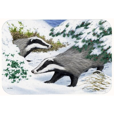 Badgers in the Snow Kitchen/Bath Mat Size: 24 W x 36 L