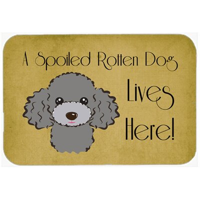 Poodle Spoiled Dog Lives Here Kitchen/Bath Mat Size: 24 W x 36 L, Color: Silver/Gray