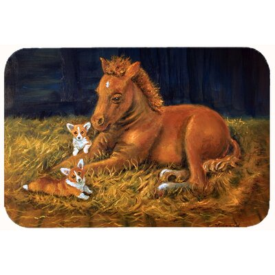 Corgi Sunrise with Colt Kitchen/Bath Mat Size: 24