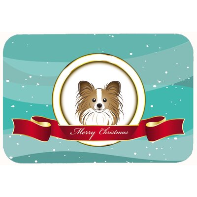 Papillon Merry Christmas Kitchen/Bath Mat Size: 20 W x 30 L