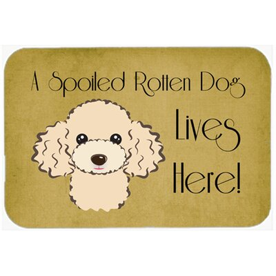 Poodle Spoiled Dog Lives Here Kitchen/Bath Mat Size: 24 W x 36 L, Color: Buff
