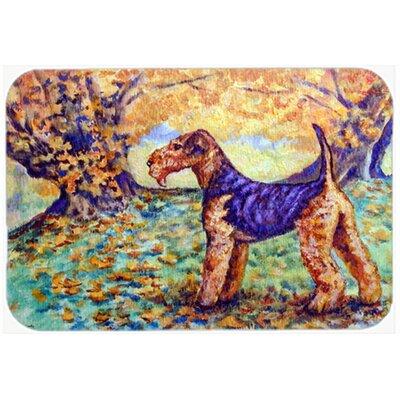 Autumn Airedale Terrier Kitchen/Bath Mat Size: 20 W x 30 L