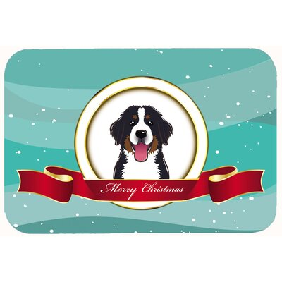 Bernese Mountain Dog Merry Christmas Kitchen/Bath Mat Size: 24 W x 36 L