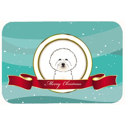 Bichon Frise Merry Christmas Kitchen/Bath Mat Size: 20 W x 30 L