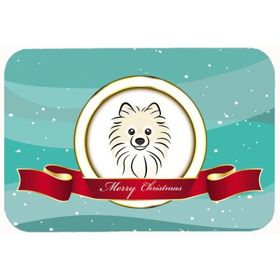 Pomeranian Merry Christmas Kitchen/Bath Mat Size: 24 W x 36 L