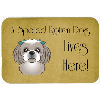 Shih Tzu Spoiled Dog Lives Here Kitchen/Bath Mat Size: 24 W x 36 L, Color: Gray/Silver