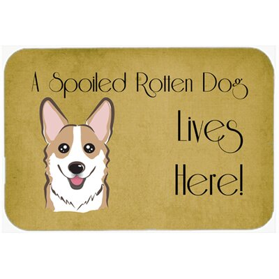Corgi Spoiled Dog Lives Here Kitchen/Bath Mat Size: 24 W x 36 L, Color: Sable