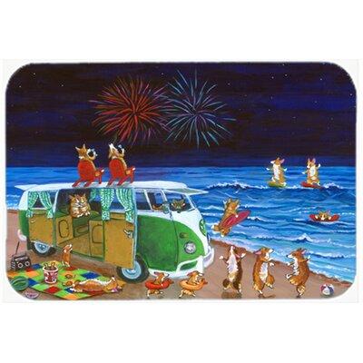 Corgi Beach Party Volkswagon Bus Fireworks Kitchen/Bath Mat Size: 20 W x 30 L