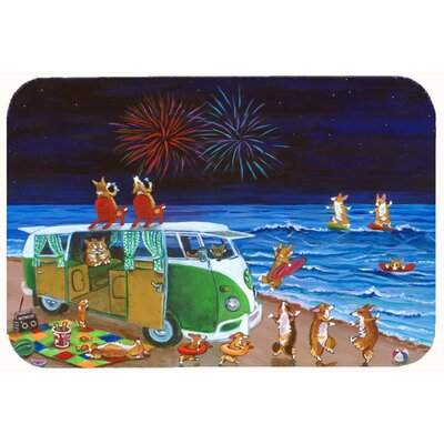 Corgi Beach Party Volkswagon Bus Fireworks Kitchen/Bath Mat Size: 24 W x 36 L