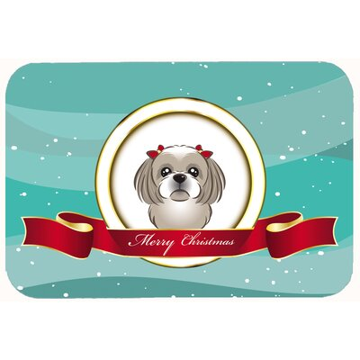 Shih Tzu Merry Christmas Kitchen/Bath Mat Size: 24 W x 36 L, Color: Silver/Gray