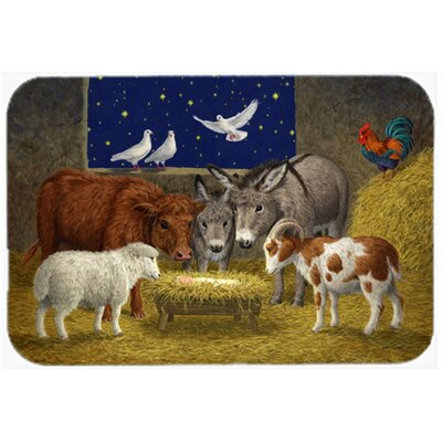 Animals at Crib Nativity Christmas Scene Kitchen/Bath Mat Size: 20 W x 30 L