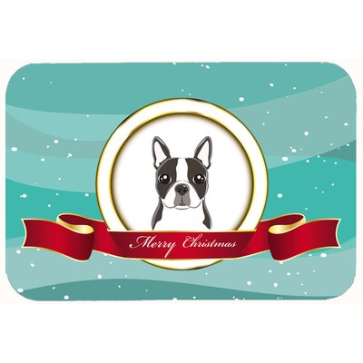 Boston Terrier Merry Christmas Kitchen/Bath Mat Size: 24 W x 36 L