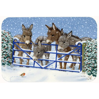 Donkeys and Robin at the Fence Kitchen/Bath Mat Size: 24 W x 36 L