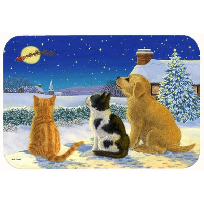 Retriever and Kittens Watching Santa Kitchen/Bath Mat Size: 24 W x 36 L