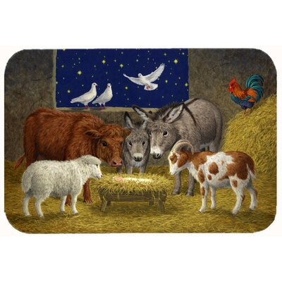 Animals at Crib Nativity Christmas Scene Kitchen/Bath Mat Size: 24 W x 36 L