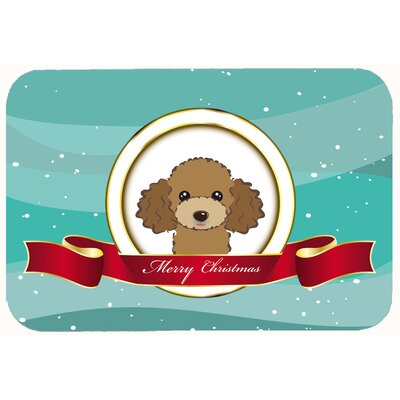 Poodle Merry Christmas Kitchen/Bath Mat Size: 24 W x 36 L, Color: Chocolate/Brown
