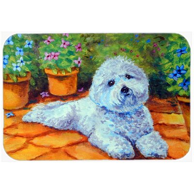 Bichon Frise on the Patio Kitchen/Bath Mat Size: 20 W x 30 L