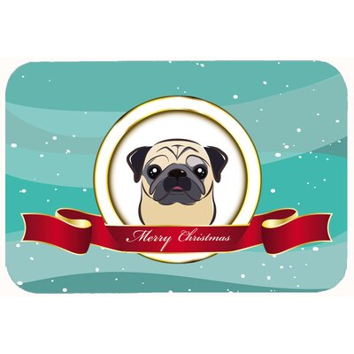 Pug Merry Christmas Kitchen/Bath Mat Size: 24 W x 36 L, Color: Fawn
