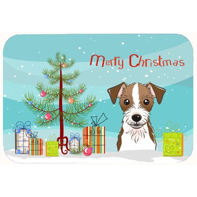 Christmas Tree and Brown Jack Russell Terrier Kitchen/Bath Mat Size: 20 W x 30 L