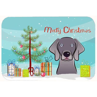 Christmas Tree and Weimaraner Kitchen/Bath Mat Size: 24 W x 36 L