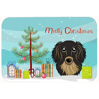 Christmas Tree and Longhair Dachshund Kitchen/Bath Mat Size: 24 W x 36 L, Color: Black/Tan
