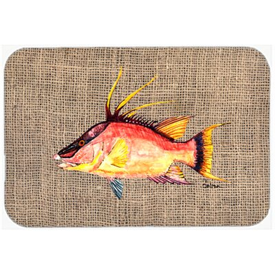 Hog Snapper on Faux Burlap Kitchen/Bath Mat Size: 24 W x 36 L