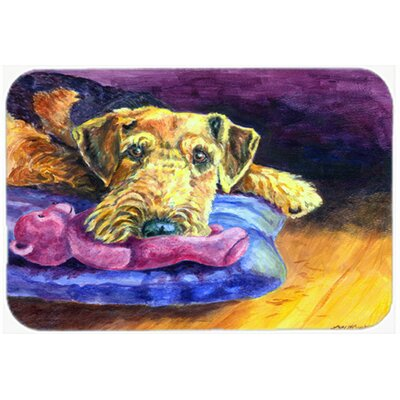 Airedale Terrier Teddy Bear Kitchen/Bath Mat Size: 24 W x 36 L
