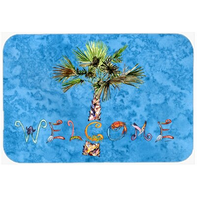 Welcome Palm Tree Kitchen/Bath Mat Size: 24 W x 36 L, Color: Blue