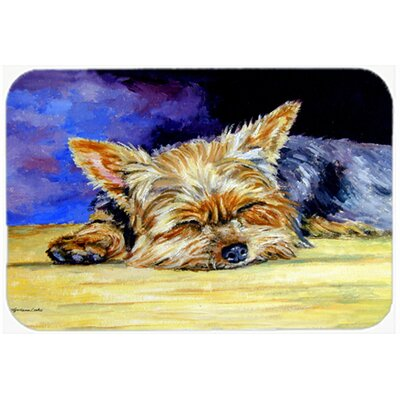 Yorkie Taking a Nap Kitchen/Bath Mat Size: 24 W x 36 L