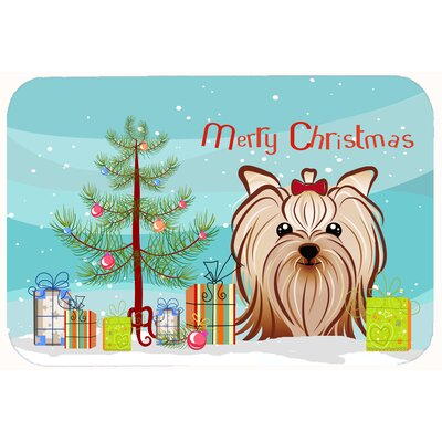 Christmas Tree and Yorkie Yorkshire Terrier Kitchen/Bath Mat Size: 24 W x 36 L