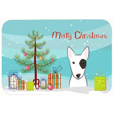 Christmas Tree and Bull Terrier Kitchen/Bath Mat Size: 20 W x 30 L