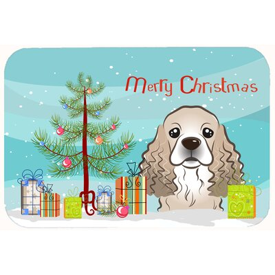 Christmas Tree and Cocker Spaniel Kitchen/Bath Mat Size: 20 W x 30 L