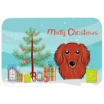 Christmas Tree and Longhair Dachshund Kitchen/Bath Mat Size: 24 W x 36 L, Color: Red