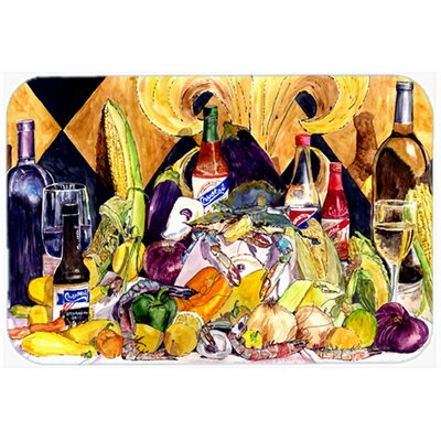 Crystal Hot Sauce with Fleur De lis and Wine Kitchen/Bath Mat Size: 24 W x 36 L