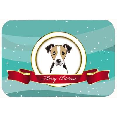 Jack Russell Terrier Merry Christmas Kitchen/Bath Mat Color: Black/Beige, Size: 20 W x 30 L