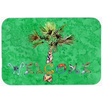 Welcome Palm Tree Kitchen/Bath Mat Size: 24 W x 36 L, Color: Green