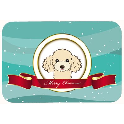 Poodle Merry Christmas Kitchen/Bath Mat Size: 20 W x 30 L, Color: Buff