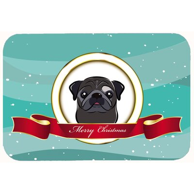 Pug Merry Christmas Kitchen/Bath Mat Color: Black, Size: 20 W x 30 L