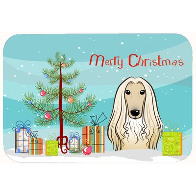 Christmas Tree and Afghan Hound Kitchen/Bath Mat Size: 24 W x 36 L