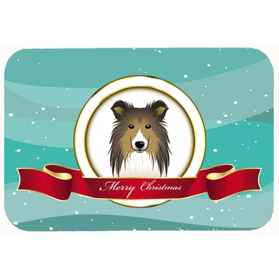 Sheltie Merry Christmas Kitchen/Bath Mat Size: 24 W x 36 L